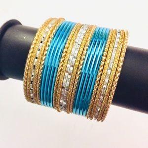 ✅ Turquoise color Indian Pakistani Bangles set
